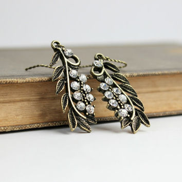 Romantic Crystal-Studded Antique Gold Branch and Leaf Dangle Earrings - Victorian Vintage Style Jewelry - Downton Abbey