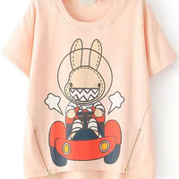 Dip Hem  Zip up Animal Print Pink T-Shirt