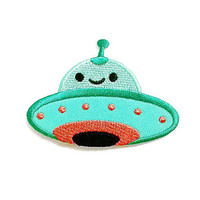 Green Pastel Color UFO Cute Cartoon New Iron On Patch Embroidered Applique Size 8cm.x5.8cm.