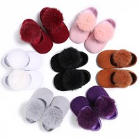 Female Baby Hair Ball Princess Shoes 0-1 Soft Cloth Cotton Non Slip Bottom Infant Toddler Baby Girl Shoes