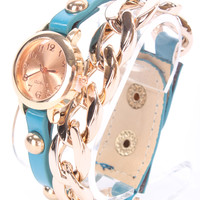 Turquoise Faux Leather High Polish Metal Watch Bracelet