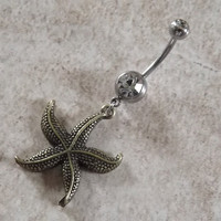 Navel Ring Starfish Bronze Body Jewelry Navel Piercing 14 ga Surgical Steel
