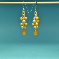 Luminous Golden Pearls with Moonglow Teardrops Dangle Earrings