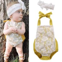 Backless Newborn Baby Girl Summer Romper