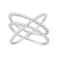 Cubic Zirconia Sterling Silver Crisscross Ring (White)
