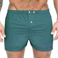 Solid Dark Green Boxer Short - Spruce One Piece Size L Available