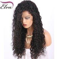 Elva Hair Lace Front Human Hair Wigs Pre Plucked Hairline Water Wave Brazilian Remy Hair Lace Wigs With Baby Hair Natural Color