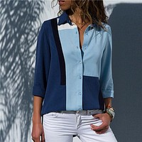 Women's Long Sleeve Collared Casual Office Button-Up