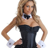 Free shipping Playboy Bunny Corset Costume - Corset, Ruffle Mini Skirt & Accessories (6 pc)