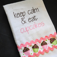 keep calm and eat cupcakes kitchen or bathroom hand show towel with ribbon and ric rac embellishment