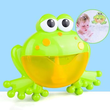 Cartoon Frog Electric Bubble Blower Machine Music Play Interactive Kids Bath Toy