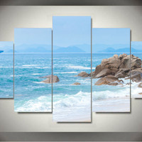 5 Panel Wall Art Modern Abstract Painting Sea Beach Canvas Picture Wall Pictures Artwork Print On Canvas Abstract Framed F/1125