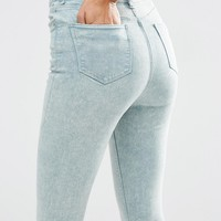 ASOS RIDLEY Skinny Ankle Grazer Jeans in Eucalyptus Wash