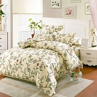 100% Cotton Bedding Sets USA twin full Queen king Size white Flowers Printed Bedsheet Pillowcase Duvet Cover Bed Quilt Bedlinen