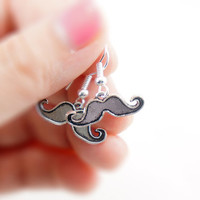 Tiny Mustache Earrings - Antiqued Silver Plated Vintage Style Tiny Mustache Dangle Earrings - Gifts Ideas - CP044
