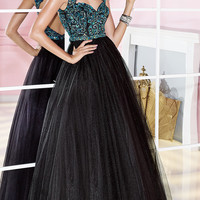 Sleeveless Floor Length Alyce Dress with Cut Out Back