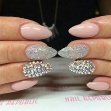 Baby pink silver glitter with rhinestones