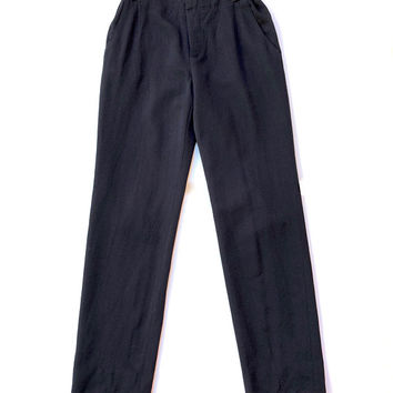 MARNI!!! Vintage 'Marni' dark navy, wool gabardine pants with button waist, fly front and tab sides / Made in Italy