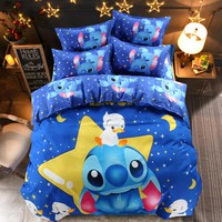 Disney Lilo and Stitch Bedding Set 3/4 Pieces Blue Comforter Cover 3D Children Bedroom Decor for 1.5m Bed