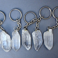 Crystal Quartz-- Crystal Quartz Keychain- Natural Quartz Crystal Nugget Keychain