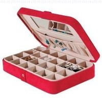 Mele & Co. Maria Plush Fabric Jewelry Box with Twenty-four Sections in Red