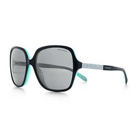 Tiffany & Co. - Tiffany Metro square sunglasses in black acetate with Austrian crystals.
