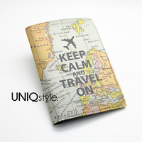 Keep Calm and travel on - Passport Holder Case Travel Wallet PU Leather Cover - world map - L71