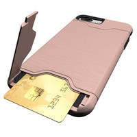 Case for iphone 7 Hybrid Wire drawing Hard Armor Case Cover For iphone 7 plus With Stand Card Holder Mobile Phone Accessories