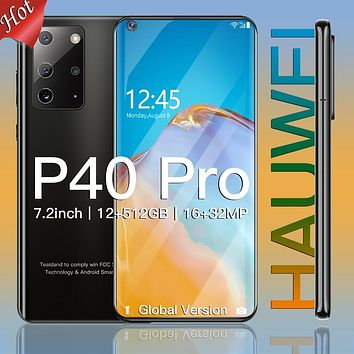 Cell Phone Hauwei P40 pro Android Smart Phone 12GBRAM 512GBROM Telephone 5800mAh Battery 7.2 inch 4G Global Version Mobile Phone