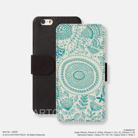 Mandala Pattern iPhone leather wallet cover iPhone case Samsung Galaxy case 029