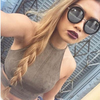 2016 New Summer Style Sexy Lace Up Women Cropped Tanks Tops Vest Sexy Sleeveless Suede Bralette Bandage Crop Tops Camisole S-XL