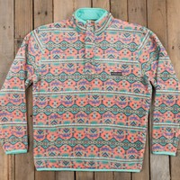 Southern Marsh Dorado Fleece Pullover - Peach/Mint