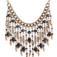 Lee Beaded Fringe Bib Necklace