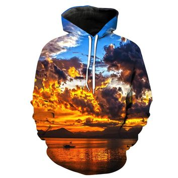 3D Digital Colorful Cloud Printed Hoodie