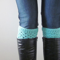 Crochet Boot Cuffs Luxe Cuffs Socks Boot Toppers in Aquamarine