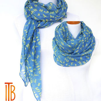 Blue Infinity Scarf, Yellow Bird Print Scarf, Spring Summer Shawl Scarves, Fashion Women's Scarf, Bohemian Boho Scarf, Gifts For Her