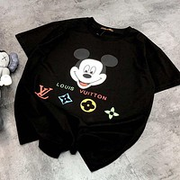 LV & Disney New fashion letter mouse print couple top t-shirt Black