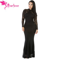 Dear-Lover maxi dresses Long Sleeve Winter Gowns Sexy Black Lace Knit Floral Backless Mermaid Doll Dress Vestidos Longos LC61319