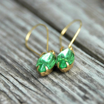 Peridot Rhinestone Earrings . St Patricks Day Earrings . Lime Green Earrings . August Birthstone Earrings . Birthstone Birthday Gift for Her