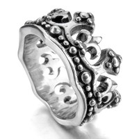 Men's Stainless Steel Ring Band Silver Black Royal King Crown Knight Fleur De Lis Cross Vintage