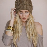 mocha cable knitted beanie hat - Three Bird Nest | Women's Boho Clothing & Cute Indie Accessories