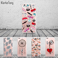 Dream Catcher Sushi Phone Case for Iphone 6 5 7 SE Silicone Nutella Chocolate Back Cover for Iphone 6s Plus Transparent Coque