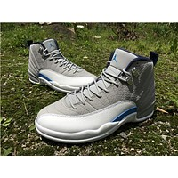 "Air Jordan 12 ""Grey/Blue"" Basketball Shoes 36-47"
