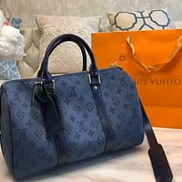 LV Denim Blue Canvas Large Capacity Travel Bag Crossbody Bag
