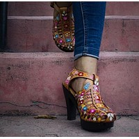 Leather Honey Hand-painted High Heels - Cerrados