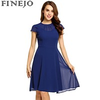 Women Summer Spring Keyhole Back Fit and Flare Chiffon Dress