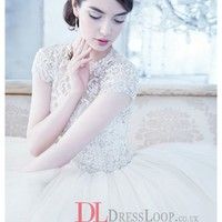 Beaded And Embroidered Bodice With Jewel Neckline And Cap Sleeves Tulle Bridal Ball Gown LZ3407