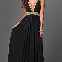 Black Floor Length Low V-Neck Dress with Open Back
