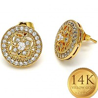 Gold Layered Women Stud Earring, with White Cubic Zirconia, by Folks Jewelry