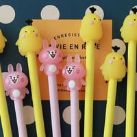 Pink Rabbit & Yellow Chick, Gel Pens, Piske and Usagi, Cute Bunny, Kawaii Stationary